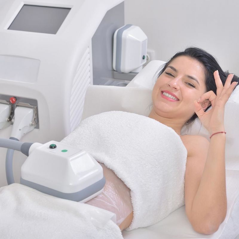 happy young woman fat freezing